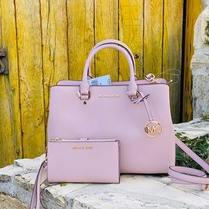 NWT Michael Kors LG Savannah Satchel&wallet blosso